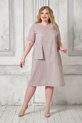 Изображение Платье 356-4 полоска/лен беж